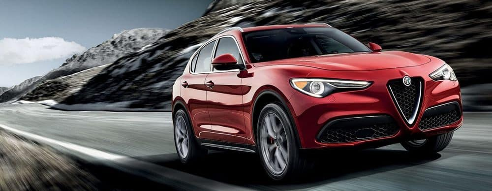 2019 Alfa Romeo Stelvio Red Driving