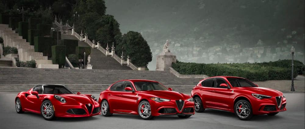 Red Alfa Romeo cars and SUVs