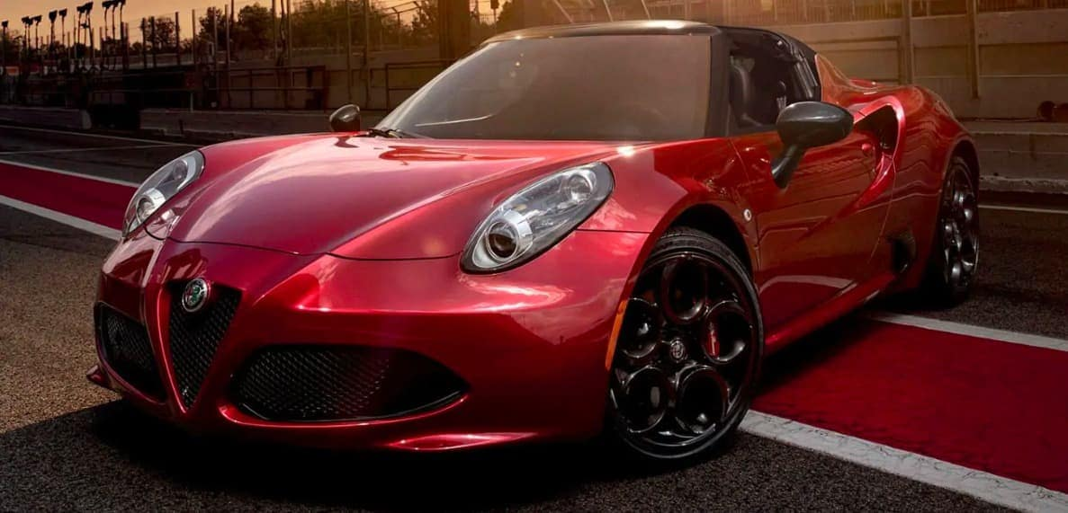 2019 Alfa Romeo 4C coupe in red on road