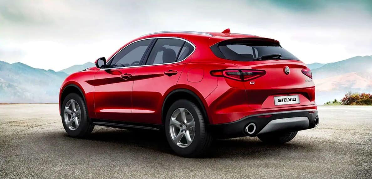 2019 Alfa Romeo Stelvio rear view in red parked