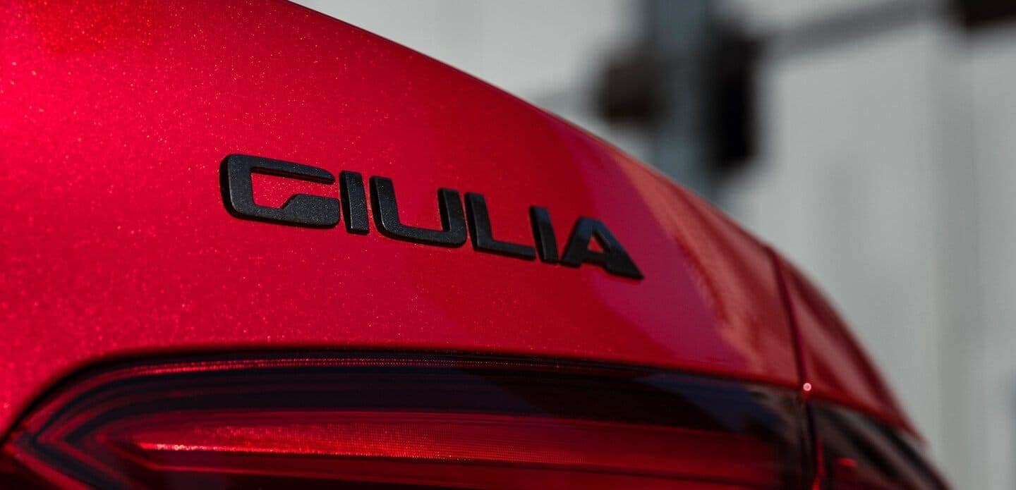 2019 Alfa Romeo Giulia in red back name plate close up
