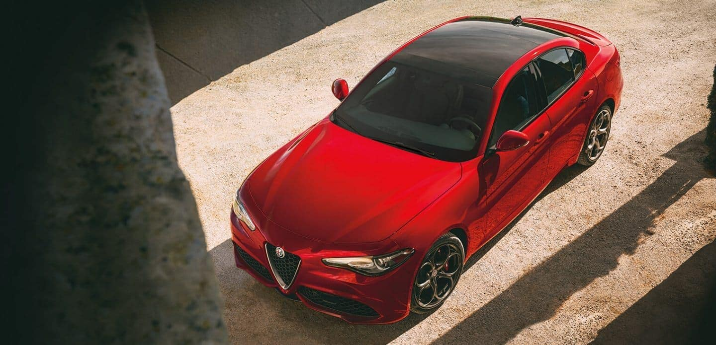 2019 Alfa Romeo Giulia in red parked