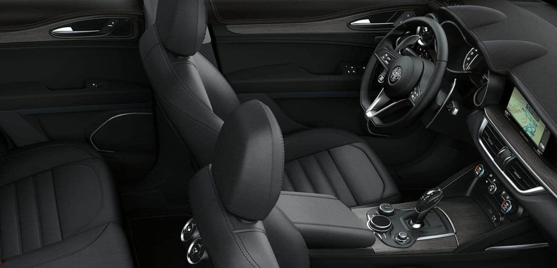 2019 Alfa Romeo Stelvio interior in black leather