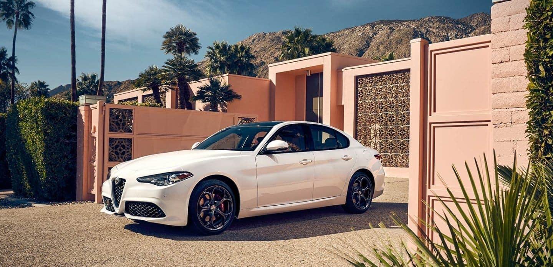 2019 Alfa Romeo Giulia in white parked
