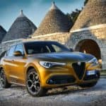 2020 Alfa Romeo Stelvio parked in a castle