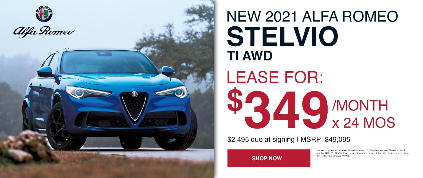 Lease for: $349/month x 24 mos $2,495 due at signing | MSRP: $49,095