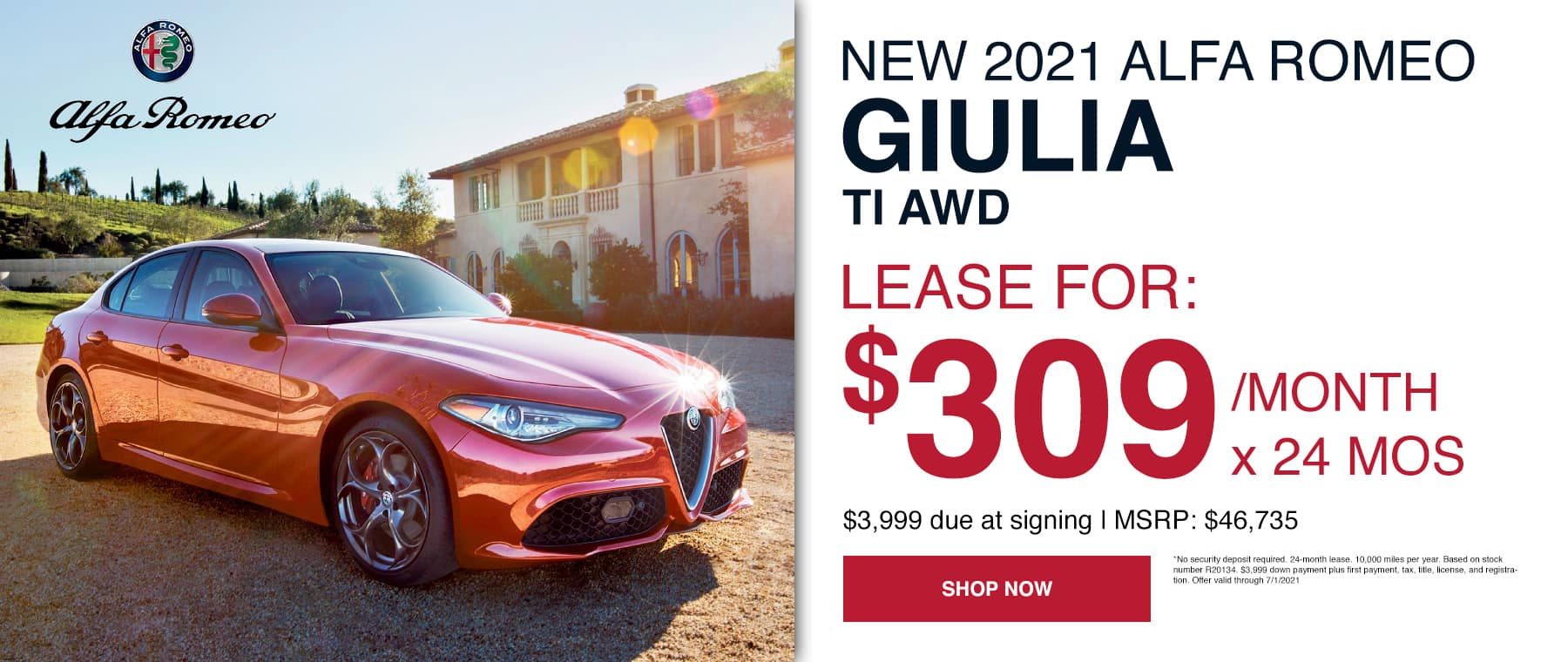 Lease for: $309/month x 24 mos $3,999 due at signing | MSRP: $46,735